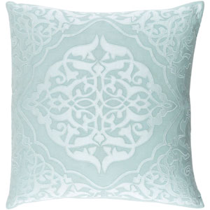 Adelia Green and Blue 20-Inch Pillow with Down Fill
