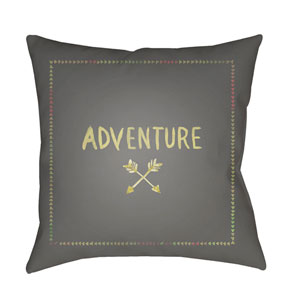 Adventure II Gray and Yellow 18 x 18-Inch Throw Pillow