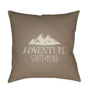 Adventure III Brown and Beige 20 x 20-Inch Throw Pillow