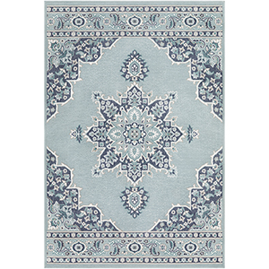 Alfresco Charcoal and Aqua Indoor/Outdoor Runner: 3 Ft. 6 In. x 5 Ft. 6 In. Rug