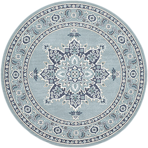 Alfresco Charcoal and Aqua Indoor/Outdoor Round: 7 Ft. 3 In. Rug