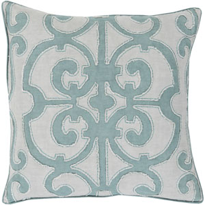 Amelia Blue and Gray 22-Inch Pillow Cover
