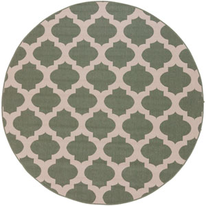 Alfresco Moss and Beige Round: 7 Ft 3 In Rug