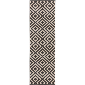 Alfresco Black and Beige Runner: 2 Ft 3 In x 7 Ft 9 In Rug