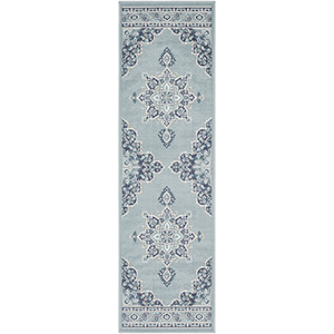 Alfresco Charcoal and Aqua Indoor/Outdoor Runner: 2 Ft. 3 In. x 11 Ft. 9 In. Rug