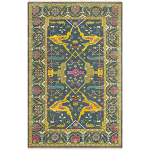 Antique Navy and Yellow Rectangular: 5 Ft. 6 In. x 8 Ft. 6 In. Rug