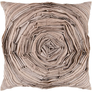 22-Inch Square Desert Sand, Caper Green and Putty Swirl Pillow Cover with Poly Insert