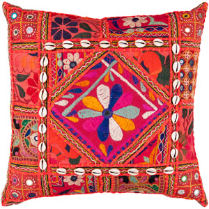 18-Inch Square Red Multi-Color Bohemian Cotton Pillow Cover with Down Insert