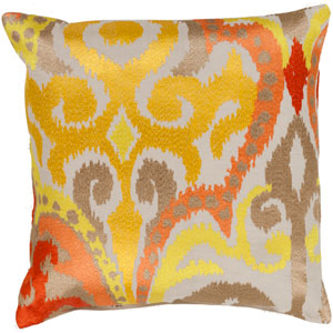 Golden Yellow and Poppy Red Polyester Filled 22 x 22  Pillow