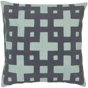 Slate Blue and Pale Aqua Green Polyester Filled 18 x 18  Pillow
