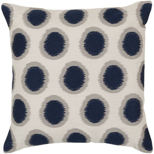 Ikat Dots Neutral and Blue 20-Inch Pillow Cover