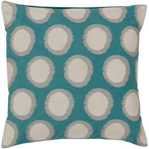 Turquoise, Antique White and Flint Gray Down Filled 22 x 22  Pillow