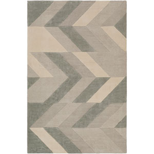Artist Studio Light Gray and Sea Foam Rectangular: 5 Ft. x 8 Ft. Rug