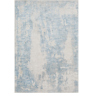 Aisha Sky Blue Rectangular: 6 Ft. 7 In. x 9 Ft. 6 In. Rug
