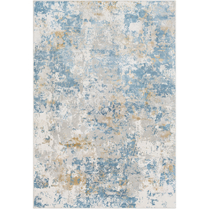 Aisha Sky Blue and Mustard Rectangular: 6 Ft. 7 In. x 9 Ft. 6 In. Rug