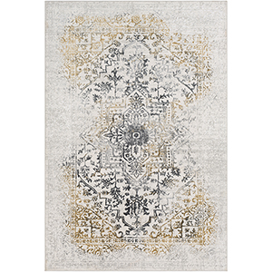 Aisha Charcoal and Mustard Rectangular: 6 Ft. 7 In. x 9 Ft. 6 In. Rug