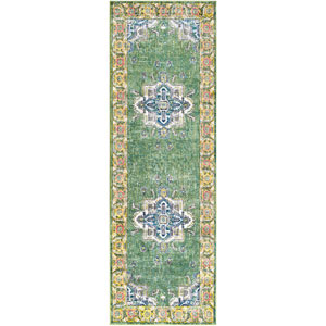 Aura silk Green Runner: 2 Ft. 7 In. x 7 Ft. 6 In. Rug