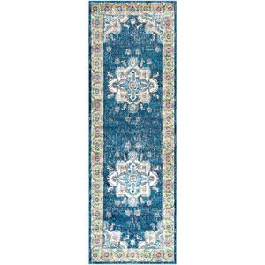 Aura silk Blue Runner: 2 Ft. 7 In. x 7 Ft. 6 In. Rug