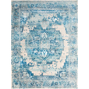 Aura silk Blue Rectangle: 7 Ft. 10 In. x 10 Ft. 3 In. Rug