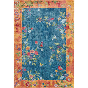Aura silk Blue Rectangle: 5 Ft. 3 In. x 7 Ft. 6 In. Rug