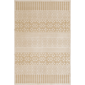Aesop Khaki and Beige Rectangular: 6 Ft. 7 In. x 9 Ft. 6 In. Rug