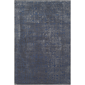 Aesop Dark Blue and Charcoal Rectangular: 6 Ft. 7 In. x 9 Ft. 6 In. Rug