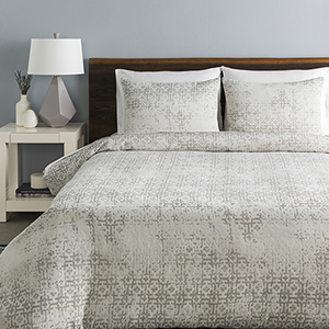 Abstraction White and Light Grey King Three-Piece Duvet Set