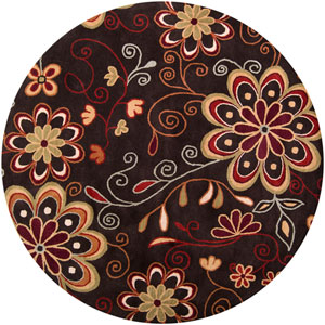 Athena Chocolate Red and Rust Round: 6 ft. x 6 ft. Rug