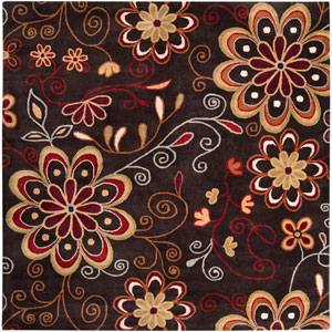Athena Chocolate Red and Rust Square: 8 ft. x 8 ft. Rug