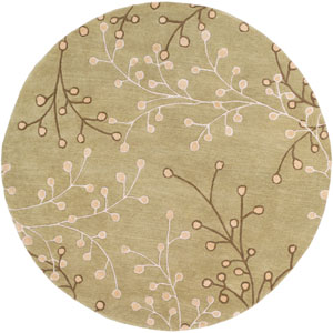 Athena Olive and Taupe Round: 6 Ft Rug