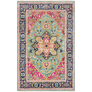 Antique Pink and Blue Rectangular: 2 Ft. x 3 Ft. Rug