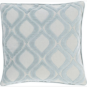 Seraphina Light Gray and Slate 18-Inch Pillow with Down Fill
