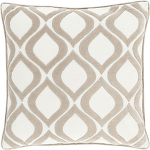 Seraphina Light Gray and Ivory 22-Inch Pillow with Down Fill