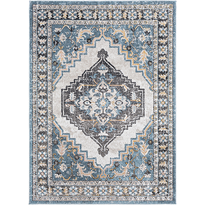 Azul Aqua and Black Rectangular: 5 Ft. 3 In. x 7 Ft. 3 In. Rug
