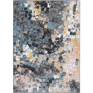Azul Aqua and Mustard Rectangular: 5 Ft. 3 In. x 7 Ft. 3 In. Rug