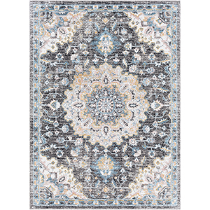 Azul Grey and Aqua Rectangular: 5 Ft. 3 In. x 7 Ft. 3 In. Rug