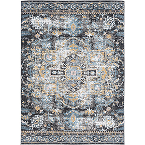 Azul Black and Aqua Rectangular: 5 Ft. 3 In. x 7 Ft. 3 In. Rug