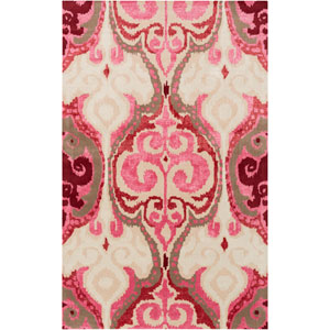 Banshee Hot Pink and Ivory Rectangular: 2 Ft x 3 Ft Rug