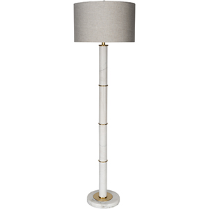 Bryce Off White and Brass One-Light Floor Lamp