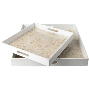 Beverly Butter and Beige Tray Set