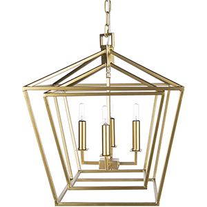 Bellair Gold 24-Inch Four-Light Lantern Pendant