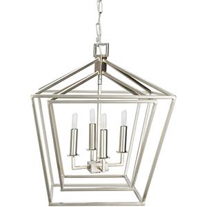 Bellair Silver 18-Inch Four-Light Lantern Pendant