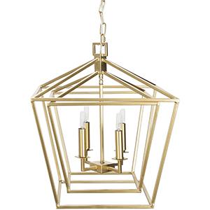 Bellair Gold 21-Inch Four-Light Lantern Pendant