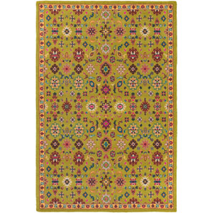 Bukhara Green and Yellow Rectangular: 2 Ft. x 2 Ft. 9-Inch Rug