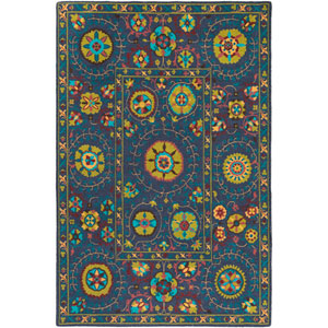 Bukhara Blue and Green Rectangular: 5 Ft. 3-Inch x 7 Ft. 6-Inch Rug
