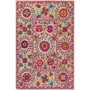 Bukhara Neutral and Pink Rectangular: 2 Ft. x 2 Ft. 9-Inch Rug