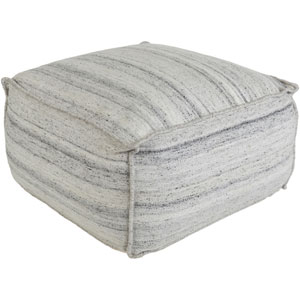 Barnsley Ivory and Gray Pouf
