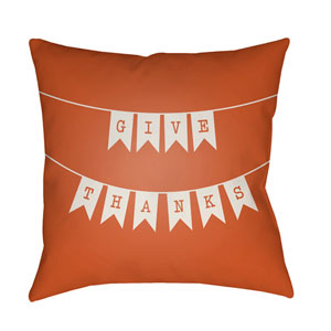 Banner Orange and White 18 x 18-Inch Throw Pillow