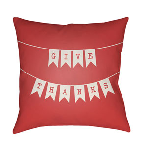 Banner Red and White 18 x 18-Inch Throw Pillow