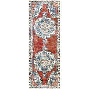 Bohemian Bright Red and Teal Runner: 2 Ft.11 In. x 7 Ft. 10 In. Rug